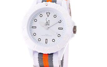 Bílé analogové hodinky s pruhovaným náramkem Senwatch