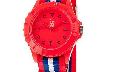 Červené analogové hodinky s pruhovaným náramkem Senwatch