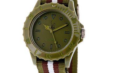 Zelené analogové hodinky s pruhovaným náramkem Senwatch