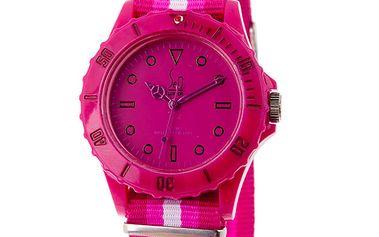 Růžové analogové hodinky s pruhovaným náramkem Senwatch