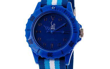 Akvamarínové analogové hodinky s pruhovaným náramkem Senwatch