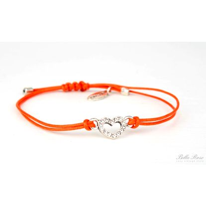 Náramek Heart silver/orange