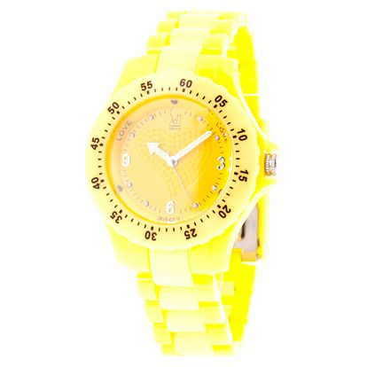 Žluté analogové hodinky s minerálním sklíčkem Senwatch