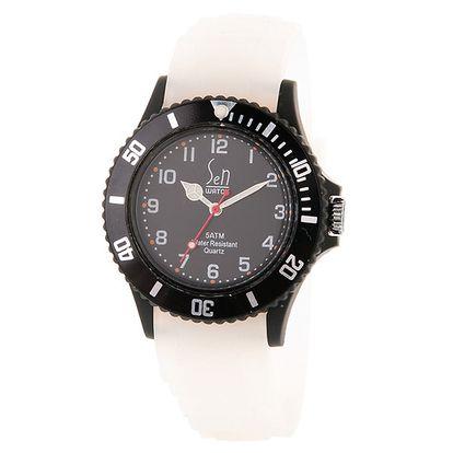 Černé hodinky Senwatch s bílým řemínkem