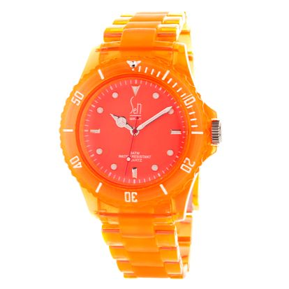 Oranžové analogové hodinky s minerálním sklíčkem Senwatch