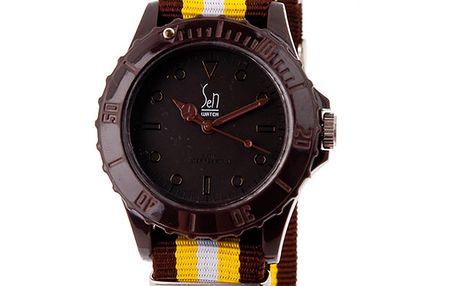 Hnědé analogové hodinky s pruhovaným náramkem Senwatch