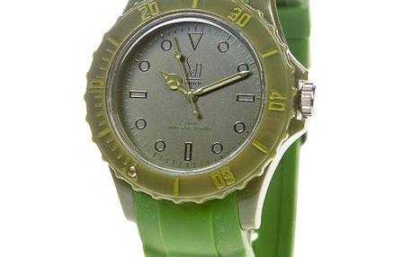 Zelené analogové hodinky s minerálním sklíčkem Senwatch
