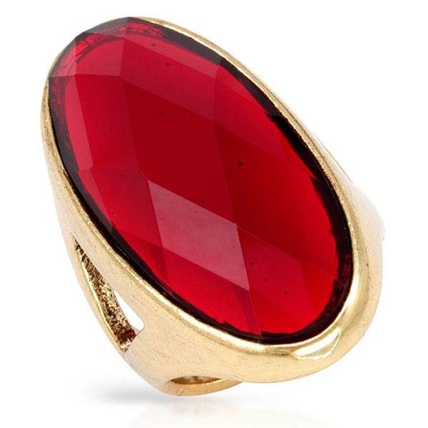 Prsten s velkým kamenem – červený