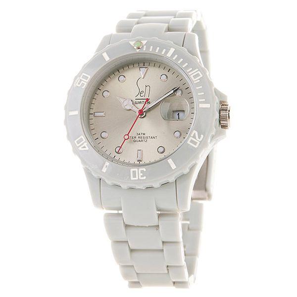 Šedé hodinky Senwatch s leským ciferníkem