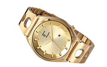 Pánské zlaté hodinky s prolamovaným náramkem Replay