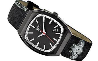 Dámské černé hodinky s koženým náramkem Replay