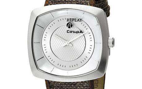Pánské stříbrné analogové hodinky s hnědo-zeleným náramkem Replay