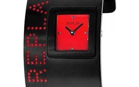 Dámské černo-červené šperkové hodinky Replay
