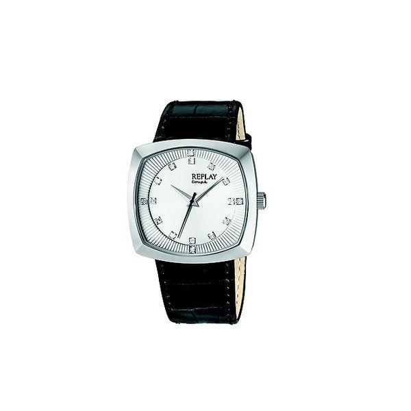 Pánské stříbrné hodinky s krystaly Replay