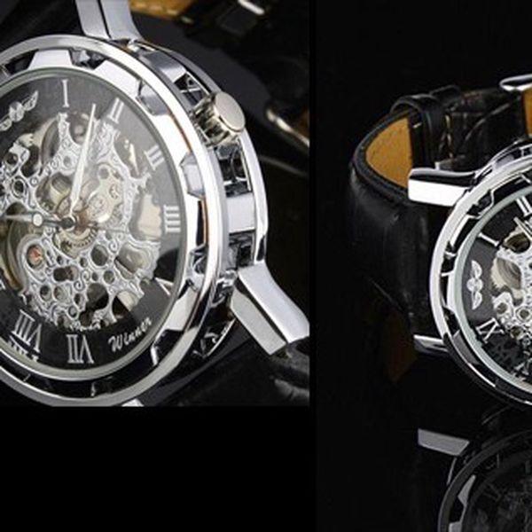 Luxusní automatické hodinky JARAGAR LUXURY z nerezové oceli, tvrzeným sklíčkem a koženým řemínkem!