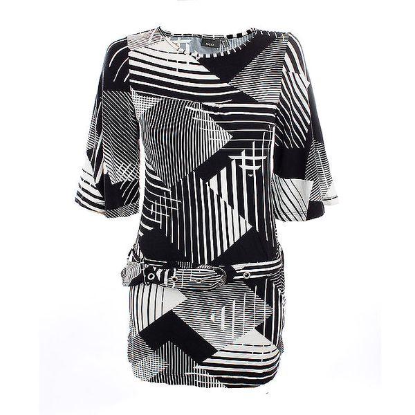 Dámské krátké černo-bílé šaty Mexx