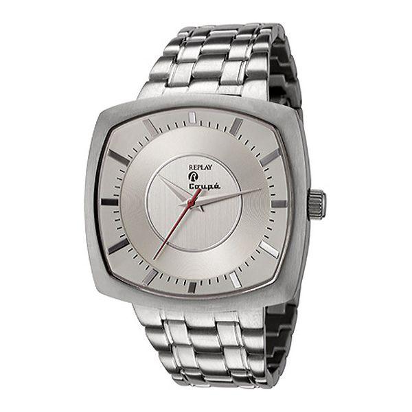Pánské stříbrně tónované hranaté hodinky Replay