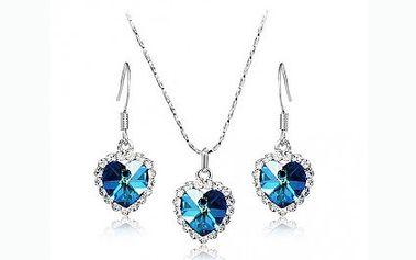 Náhrdelník a náušnice Swarovski elements v setu Srdce oceánu. Nádherná replika šperku z legendárního filmu Titanic. Krystal ve tvaru srdce osázený třpytivými kamínky okouzlí každého!