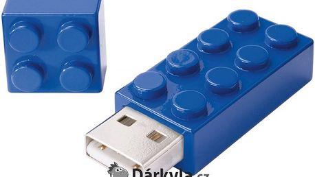 Modrý USB flash disk ve tvaru lego kostky 1GB