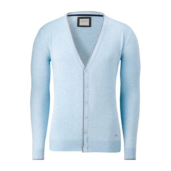 Pánský propínací svetr Vincenzo Boretti bledě modrý
