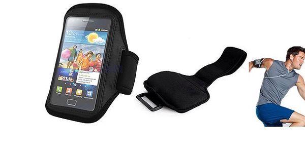 Čierne športové puzdro na chytré telefóny s páskou cez ruku s poštovým v cene - vhodné aj pre uschovanie dokladov!