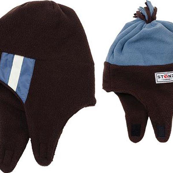 Dětská oboustranná čepice - hnědo-modrá