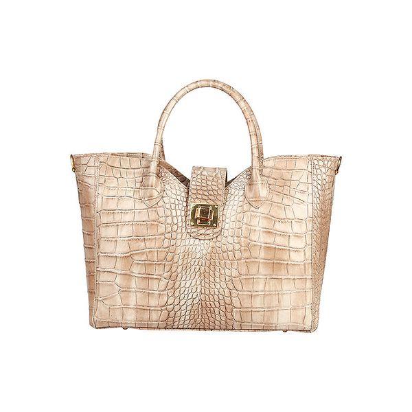 Dámská béžová kabelka s krokodýlím vzorem Made in Italia