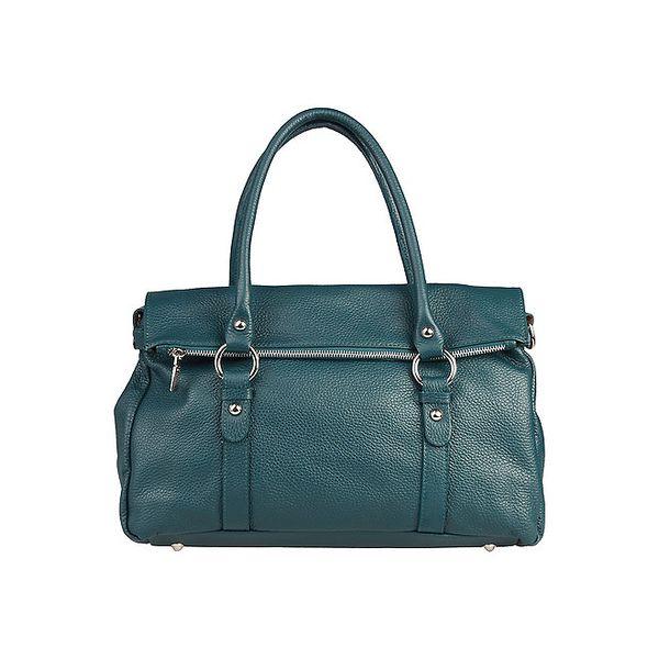 Dámská zelenomodrá kožená kabelka s překladem Made in Italia