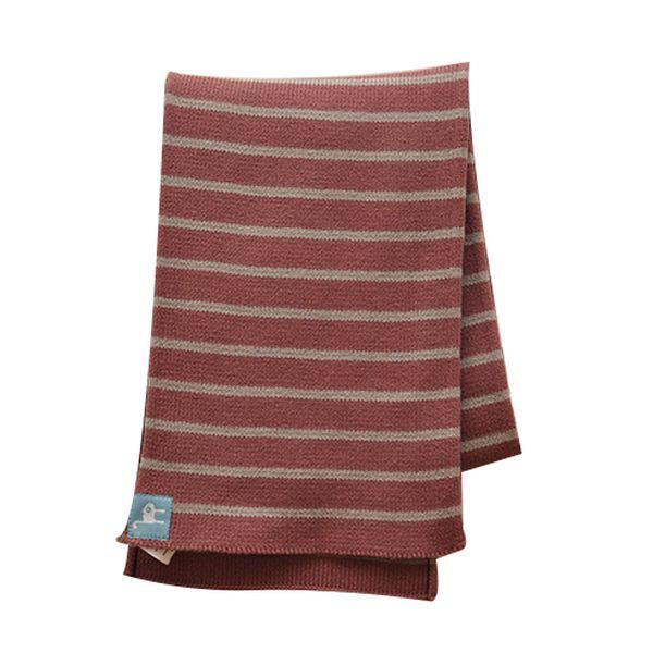 Červená pruhovaná šála z BIO bavlny