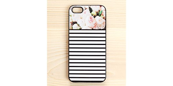 Obal na iPhone 4/4S, Peonies Stripes in Black