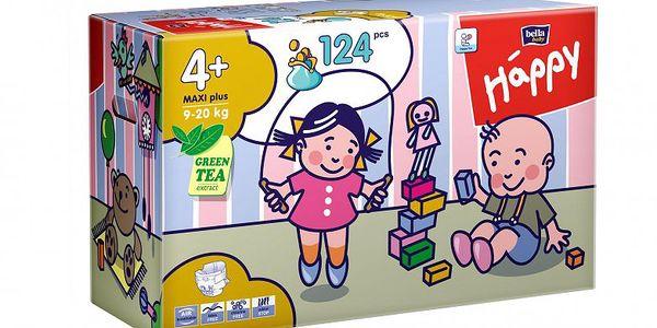Bella Happy Maxi Plus Big Pack. Prodyšné plenky jsou vhodné pro děti od 9–20 kg- 124 ks.