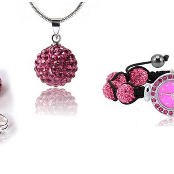Luxusní SHAMBA SET- hodinky, přívěšek a náušnice s růžovými kamínky ve vysoké kvalitě zpracování!