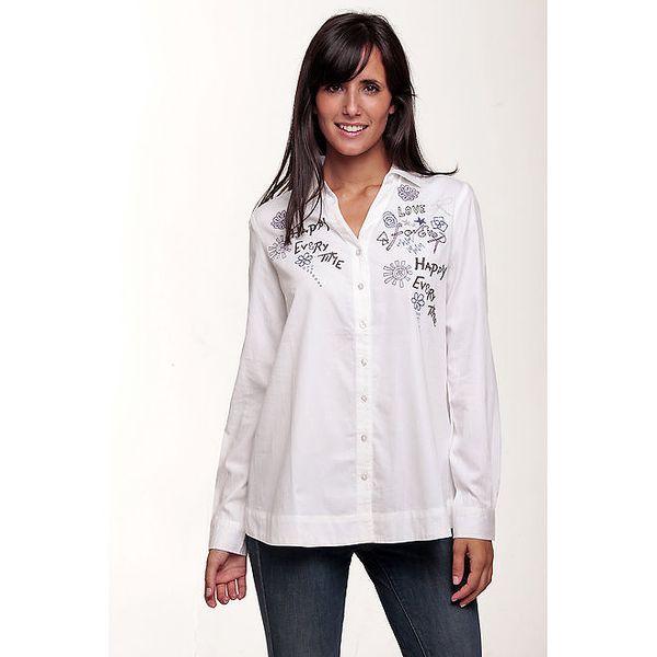 Dámská bílá košile Peace&Love s barevnou výšivkou