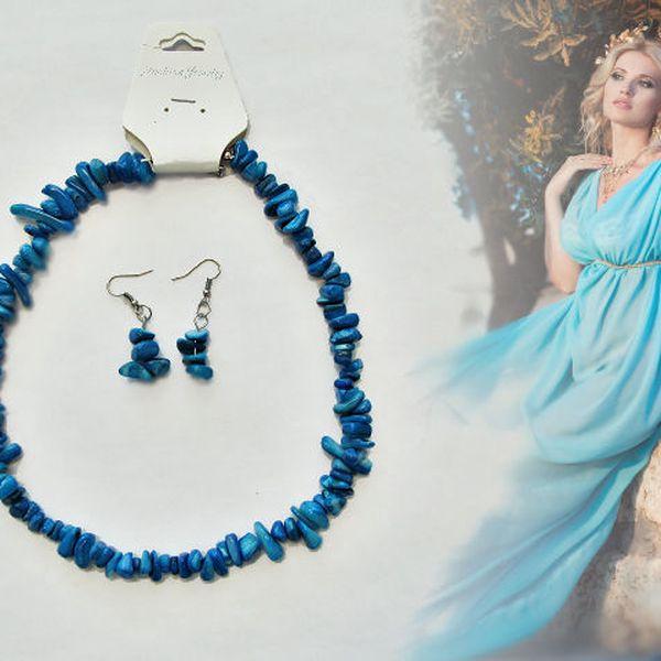 Náhrdelník a náušnice z modrých kamenů