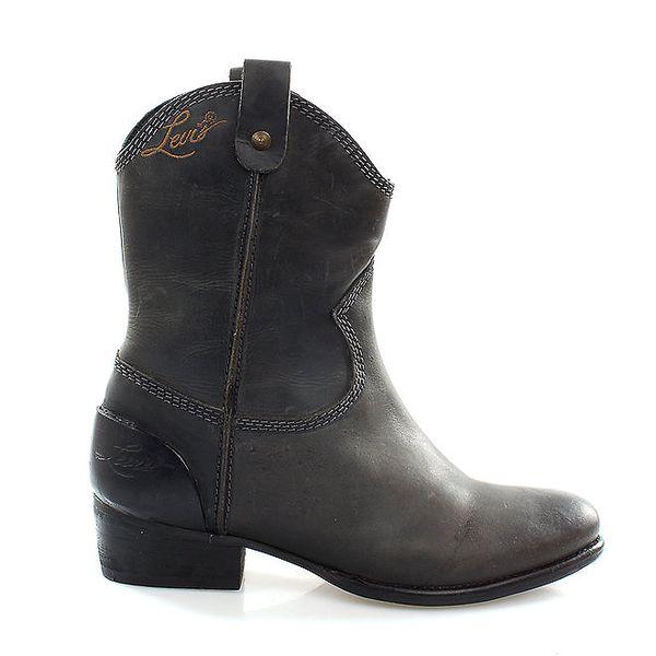Dámské antracitové kovbojské boty Levis