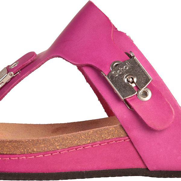 Pohodlné dámské sandály Dr.Scholl Mivie s vyšší podrážkou, nepřehlédnutelná fuchsiová barva.