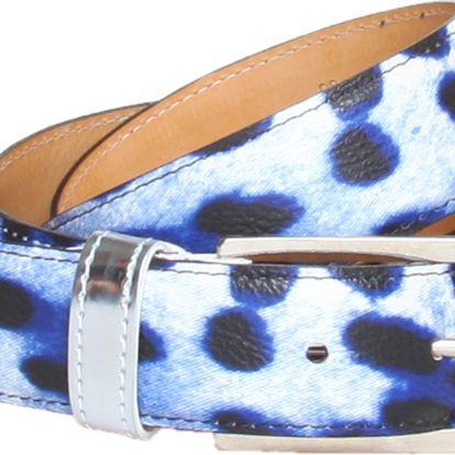 Modrý bílý dámský pásek s leopardím motivem od značky Roccobarocco.