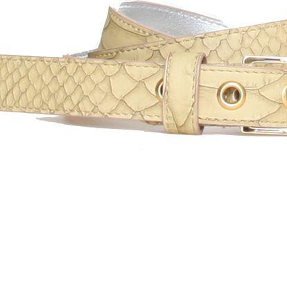 Luxusní béžový pásek s hadím motivem od značky Roccobarocco.