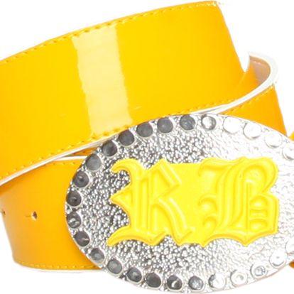 Nepřehlédnutelný dámský žlutý pásek Roccobarocco s velkou sponou zdobenou kamínky.