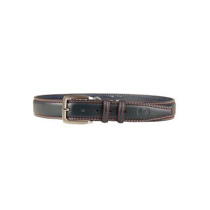 Luxusní kožený pásek Sparco pro muže. Červené a béžové lemování.