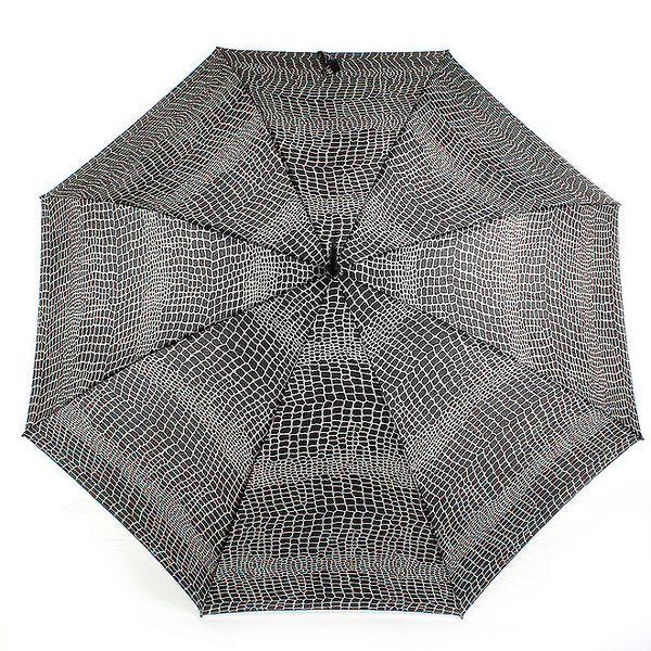 Dámský šedo-černý velký vystřelovací deštník s krokodýlím vzorem Ferré Milano