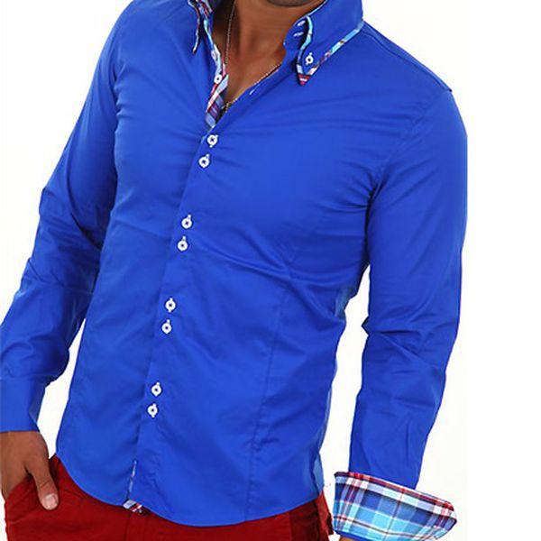 Pánská středně modrá košile s károvanými detaily