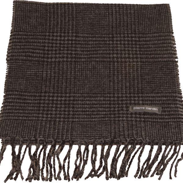 Hřejivá pánská šála Pierre Cardin Galles v tmavě šedé barvě s černými proužky, ozdobné třásně.