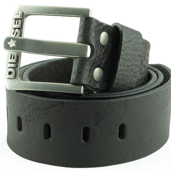 Černý široký kožený pánský pásek DIESEL