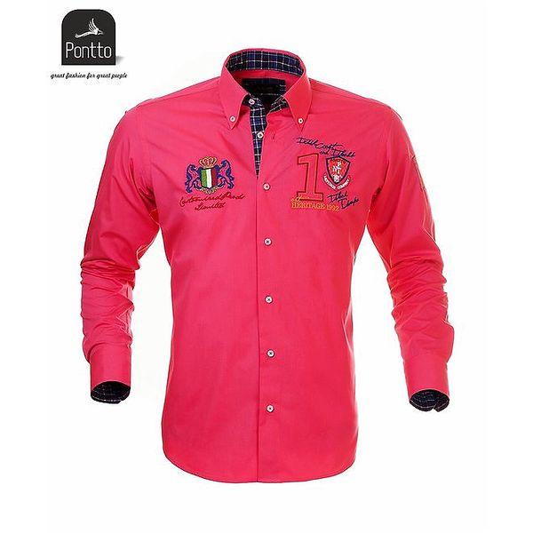 Pánská růžová košile Pontto s károvanou podšívkou