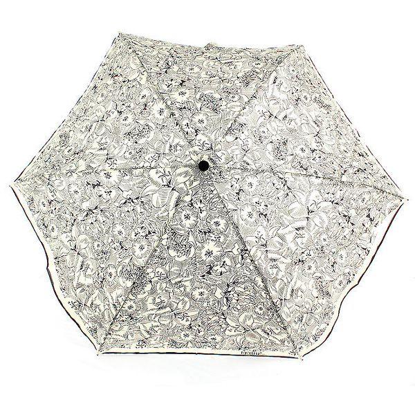 Dámský černo-bílý vystřelovací deštník s květinovým vzorem Ferré Milano