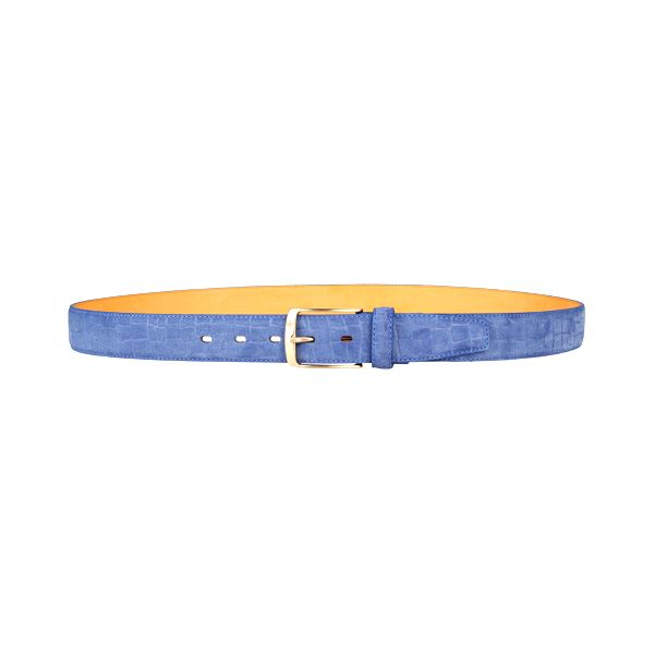 Elegantní modrý pásek z kůže s motivem hadí kůže. Značka Brooksfield.