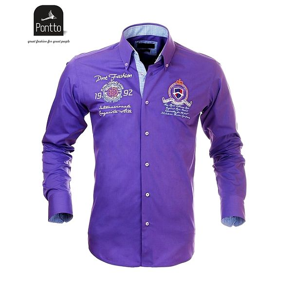 Pánská fialová košile Pontto s károvanou podšívkou