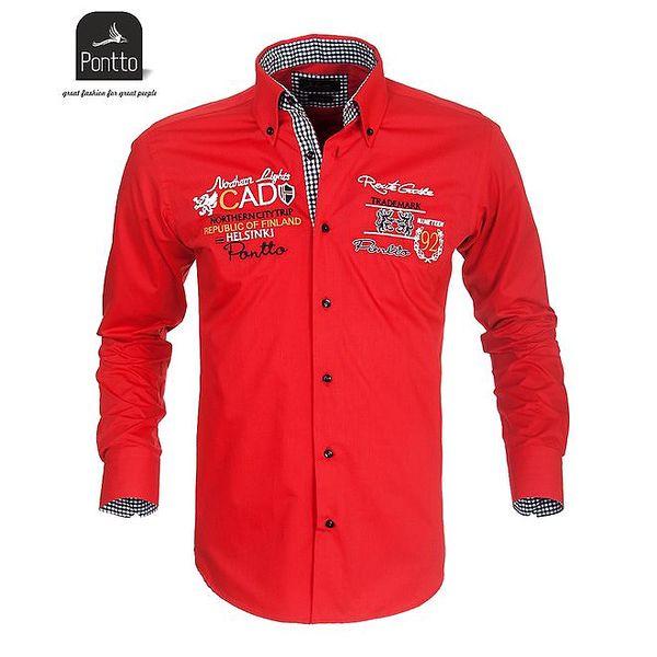 Pánská rudá košile Pontto s vyšíváním na hrudi