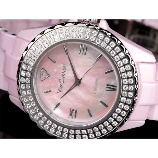 Dámské hodinky Yves Camani růžové s krystaly